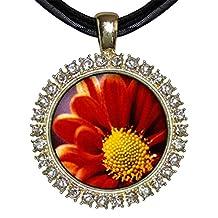 GiftJewelryShop Gold-plated Orange Daisy White Crystal Charm Pendant Necklace