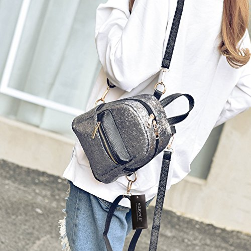 Mini Fashion Small Prosperveil Bag Sequins Backpack Leather PU Silver Women Bling Schoolbags wUqqYBRCx