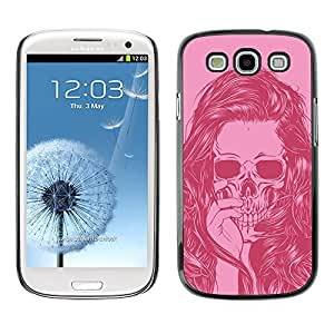 Ihec Tech / Cráneo rosado Chica Mujer Vignette Muerte / Funda Case back Cover guard / for Samsung Galaxy S3