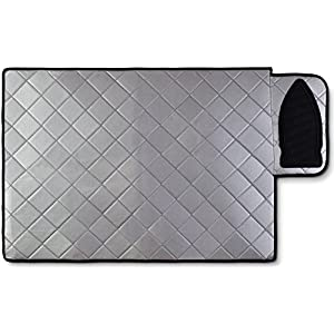 Magnetic Ironing Mat - Change any Flat Surface into an Ironing Board. Features a Silicone Slip Resistant Iron Rest to Safely Place your Hot Iron. Easy to Take Along when Traveling. (19.5 x 28 Inches)