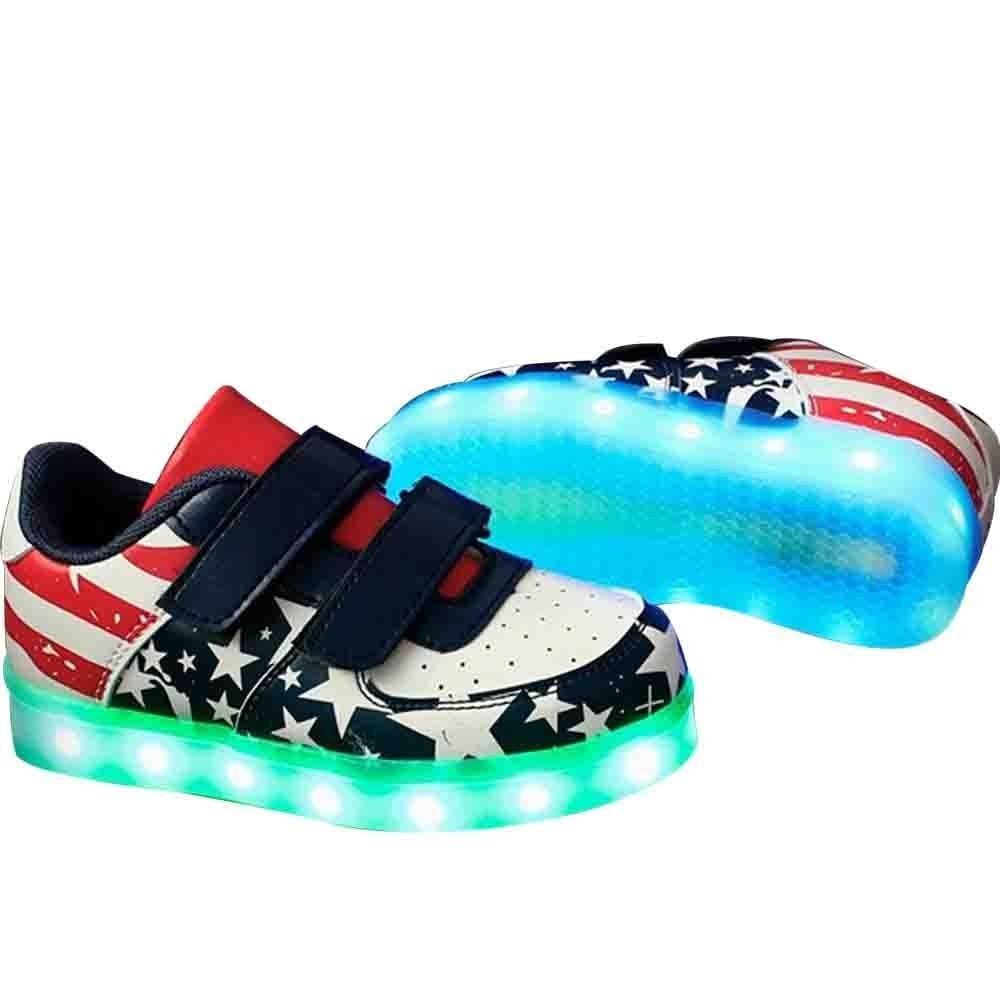 Believed Toddler Little//Big Kid Boy Girl USB Flashing LED Shoes Light Up Sneaker