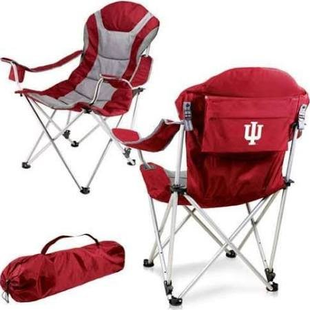 PICNIC TIME NCAA Indiana University Digital Print Reclining Camp Chair, Red, One Size ()