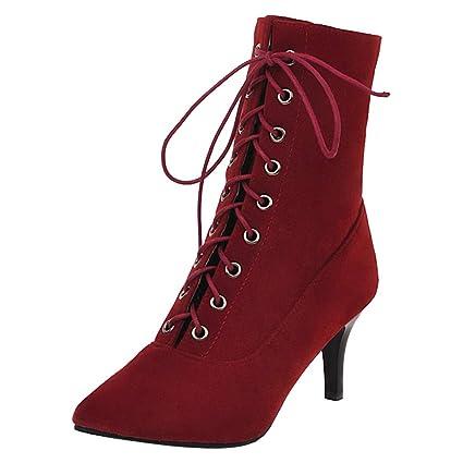 Stivali con Tacco in Pelle Scamosciata Rossa Scarpe Taglia