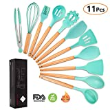 Silicone Cooking Utensils Kitchen Utensil Set, MIBOTE 11 Pieces Acacia Wooden Cooking Tool Turner Tongs Spatula Spoon for Nonstick Cookware - Best Kitchen Tools Gadgets (Green)