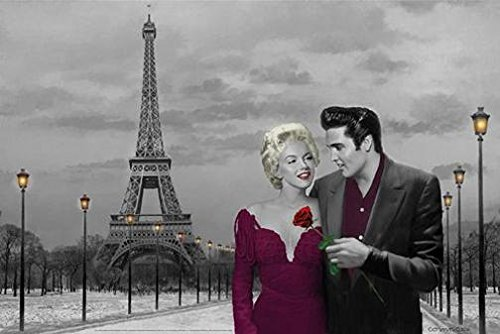 Paris France Eiffel Tower with Marilyn Monroe and Elvis Pres