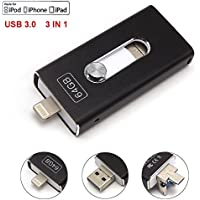 Tipmant for iPhone USB Flash Drives Memory Stick Compatible with iPhone 5 5S 6 6S 7 Plus, iPad 128 GB Cell Phone OTG USB 3.0 Lightning iOS Apple Memory Card Pen Drive 3in1 - Black 128GB