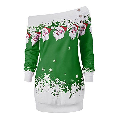 DEZZAL Women's Skew Neck Christmas Santa Claus Snowflake Pullover Sweatshirt (Green, L)