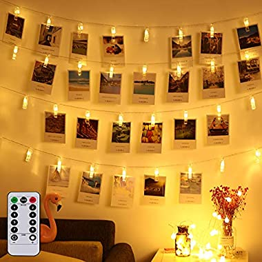 Led Photo Clip Remote String Lights, Magnolora 20 LEDs Battery Operated Fairy String Lights with 8 Modes Choice, 7.2 Feet, Warm White