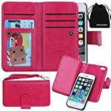 iPhone SE Case, DRUnKQUEEn Card Holder iPhone 5S 5 Case Wallet Leather Flip Case - Detachable Magnetic Hard Back Cover with Lanyard Wrist Strap for iPhoneSE iPhone5s - Rose