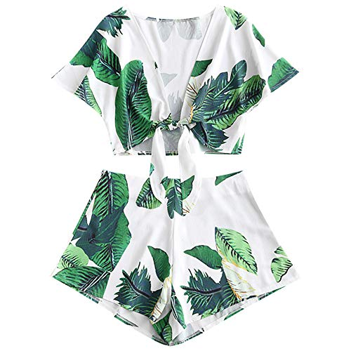 (ZAFUL Women's Leaf Print Two Piece Tie Knot Front Crop Top and Shorts Set (White,)