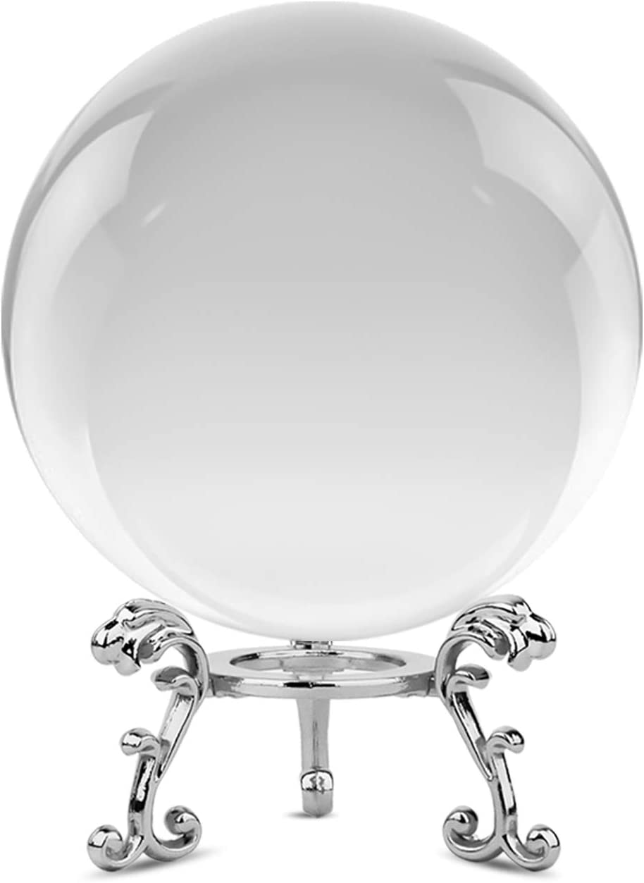 Clear Crystal Ball with Metal Stand, Ball Lens Art Decor K9 Crystal Prop for Desk Paperweight Photography Decoration Wedding Decorations Centerpieces Home Decor (3.15 in)