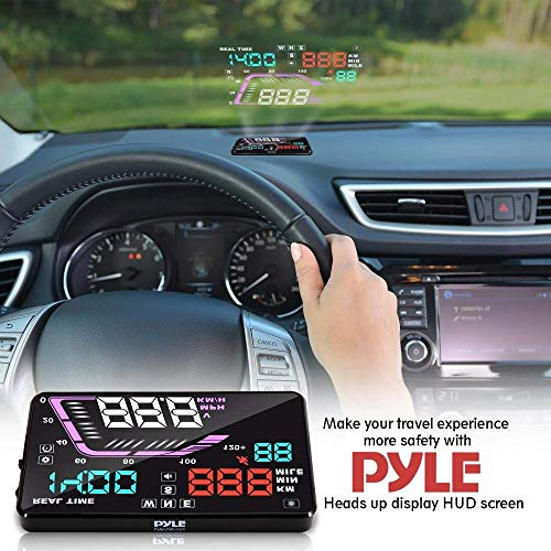 - Heads Up Display HUD Screen - Universal 5.5'' Car Head-Up Windshield Display w/Multi-Color Screen Projector Vehicle Speed, GPS Navigation Compass, Plug and Play w/Speed, Time, Altitude, Etc - Pyle