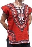 RaanPahMuang Brand Unisex Bright Cotton Africa Dashiki Afrikan Sleeveless Cap Shirt, Medium, Brick Red
