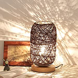 Amazon.com: Iusun - Lámpara de mesa de madera de ratán con ...