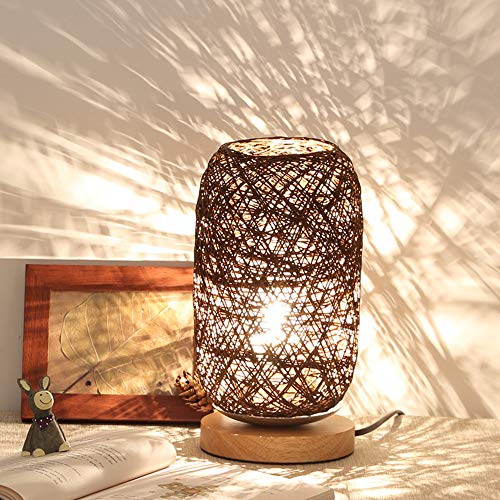 Iusun Tabletop Wood Rattan Twine Ball Lights Table Lamp Christmas Decoration Bedroom Desk Ornament Bonsai for Home Office Supplies Gift (Brown)