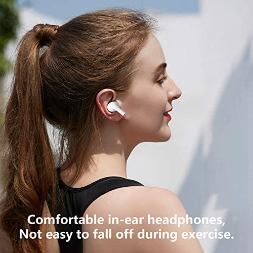 Wireless Earbuds, Air Podswireless Bluetooth 5.0 Headphones with 12Hrs Charging Case, 3-D Stereo Air Buds in-Ear Ear Buds Built-in Mic, Pop-ups Auto Pairing for Apple AirPods Android iPhone - White