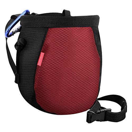 Rhino Valley Chalk Bag?No Leak Rock Climbing Strawstring Bag Drawstring Magnesia Sack with Adjustable Belt Carabiner for Gymnastics, Rock Climbing, Bouldering, Weight-Lifting, Crossfit - Black & Red