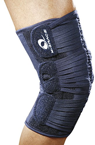 M-Brace AIR Vega Plus Patella Stabilizer Knee Brace with Hinges, Knee Strap, Knee Band, Support for Post Rehab and Prevention, 100% Cotton, Comfortable, for Men and Women, Blue, ()