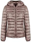 SEASUM Women's Hooded Packable Ultra Light Weight Short Down Jacket Parka Insulated Coat M Khaki