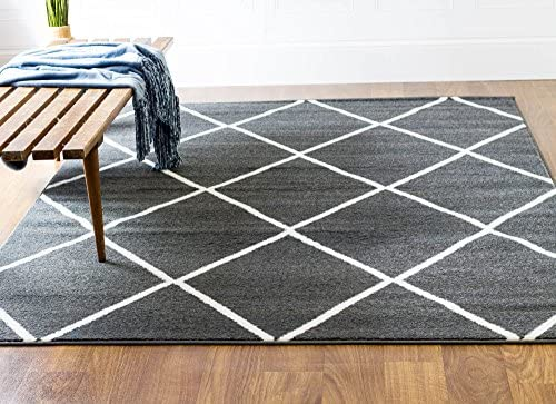 Super Area Rugs Gray Ivory Rug Contemporary Design 5-Feet x 8-Feet Soft Geometric Diamond Carpet DIAM01B