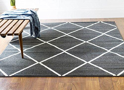 Premium Rug 3x5, Dark Grey Geometric Diamonds Non-Shedding Stain Resistant Carpet, 3' 3'' X 4' 7