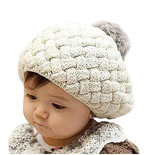 niceeshop(TM) Baby Infant Boy Girl Knit Crochet Rib Pom Pom Warm Beanie /Hat /Cap - Creamy-white