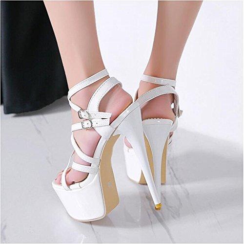 de Cinturón de Zapatos Hebilla del Redonda Mujer Alto de White Cabeza QXH Sandalias Tacón Grueso Inferior qFt6ggnwx