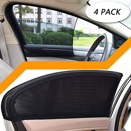- 4 Pack Car Side Window Sun Shade, Car Sun Shade Blocking Car Mosquito Net for Baby - Car Side Rear Sun Shade with UV Rays Protection, Fit Most of Vehicle - 2 Pack for Front Window and 2 Pack for Back