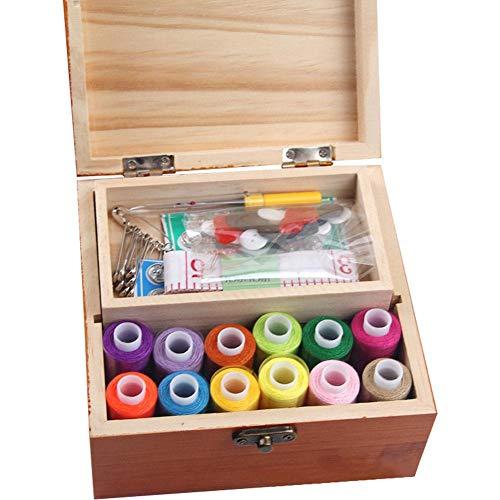 Foerteng Wooden Sewing Kit Set – Wood Basket Storage Organizer Box with Professional Hand Sew Supplies Thread Spools Pins Needles Scissors