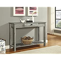 "WE Furniture AZF48CYETGW Country Style Entry Console Table, 48"", Gray Wash"