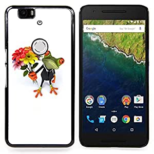 BullDog Case - FOR Huawei Nexus 6P - Valentines Frog White Day White - Dise???¡¯???¡Ào para el caso de la cubierta de pl???¡¯????stico Chicas