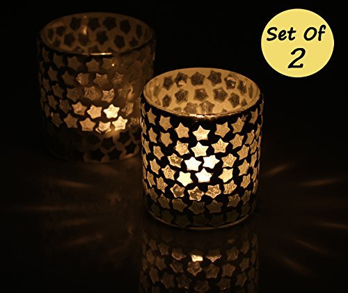 SouvNear Tealight Holders – Set of 2 Tealight Holder 3 Inches Glass Tealight Votive Holder – Star Pattern Tea Light Candle Holder for Home Decor & Housewarming Gifts For Sale