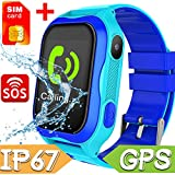 【With FREE SIM Card】Smart Watch Phone for Kids - IP68 Waterproof Smart Watches for Boys Girls Smartwatch GPS Tracker Watch Wrist Android Mobile Cell Phone Best Back to School Gift for Children (blue)