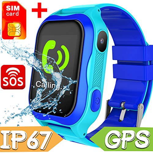 【With FREE SIM Card】Smart Watch Phone for Kids - IP68 Waterproof Smart Watches for Boys Girls Smartwatch GPS Tracker Watch Wrist Android Mobile Cell Phone Best Back to School Gift for Children (blue) (Best Mobile Phone Location Tracker)