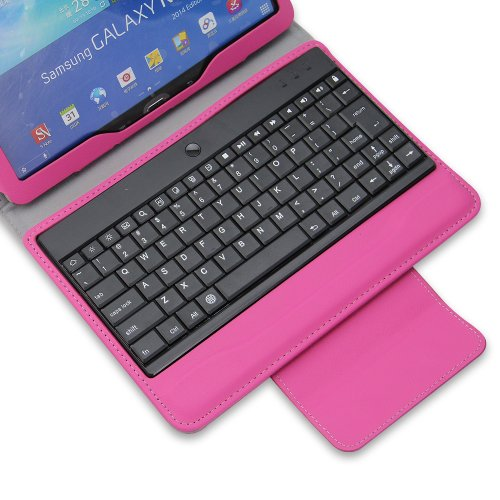 """NEWSTYLE Removable Wireless Bluetooth Keyboard ABS Plastic Laptop Stylish Keys and Protective Case For Samsung Galaxy Note 10.1"""" 10.1 inch 2014 Edition Tablet (Rose)"""