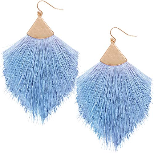 - Humble Chic Fringe Tassel Statement Dangle Earrings - Lightweight Long Feather Drops, Periwinkle, Gold-Tone, Light Blue, Violet, Lavender