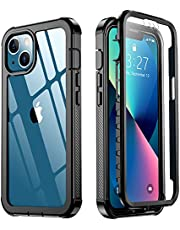Red2Fire Designed for iPhone 13 Case, with Built-in Screen Protector 360° Full Body Protective Cover Heavy Duty Lightweight Slim Shockproof Clear Phone Case for iPhone 13 6.1 inch (Black)