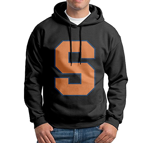 FUOALF Mens Pullover Syracuse University S Logo Hoodie Sweatshirts Black - Destiny Syracuse