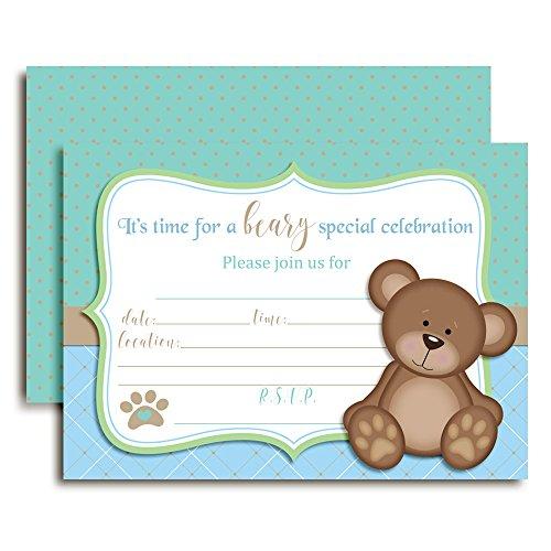 Teddy Bear Boy Birthday Party Invitations for Boys, 20 5