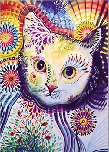 DIY 5D Diamond Painting by Number Kit, Special Shape Rhinestone Embroidery Cross Stitch Arts Craft Canvas Wall Decor, 11.8x15.7 Inches (Cat)