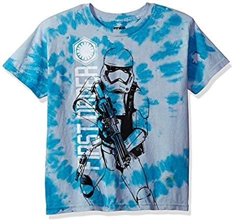 Star Wars Big Boys' First Order Storm Trooper with Blaster Tie-Dye T-Shirt, Blue, L - Boys Blue Tie Dye