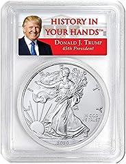 2020 W Burnished Silver Eagle - Donald Trump Label Dollar SP70 PCGS