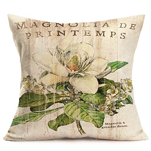 - YANGYULU Throw Pillow Covers Vintage Board Flower Print Cotton Linen Retro Magnolia Blossom Leaves Decor Cushion Case Cover with Words Lettering for Couch Sofa 18x18 Inch (Magnolia a Grandee Fleurs)