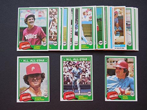 Philadelphia Phillies 1981 Topps Baseball Master Team Set with year end High Numbers (37 Cards)***(And Receive a FREE Mike Schmidt 1973 Rookie REPRINT Card)*** (Pete Rose) (Mike Schmidt) (Steve Carlton) (Tug McGraw) (Bake McBride) (Larry Bowa) (Garry Maddox) (Greg Luzinski) (Bob Boone) (Lonnie Smith) (Larry Christensen) (Greg Gross) (Manny Trillo) (Bob Walk) (Del Unser) (George Vukovich) (Dick Ruthven) (Sparkey Lyle) (Gary Matthews) (Schmidt Card Baseball)