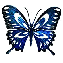 Next Innovations WA3DLBFLYBL/BK Butterfly Refraxions 3D Wall Art, Large, Blue and Black