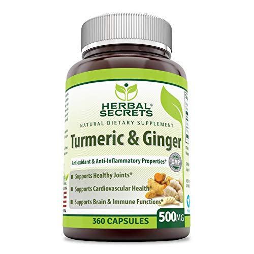 Herbal Secrets Turmeric and Ginger Dietary Supplement – 500 Milligrams – 360 Capsules – Antioxidant Power – Provides Anti-Inflammatory Support