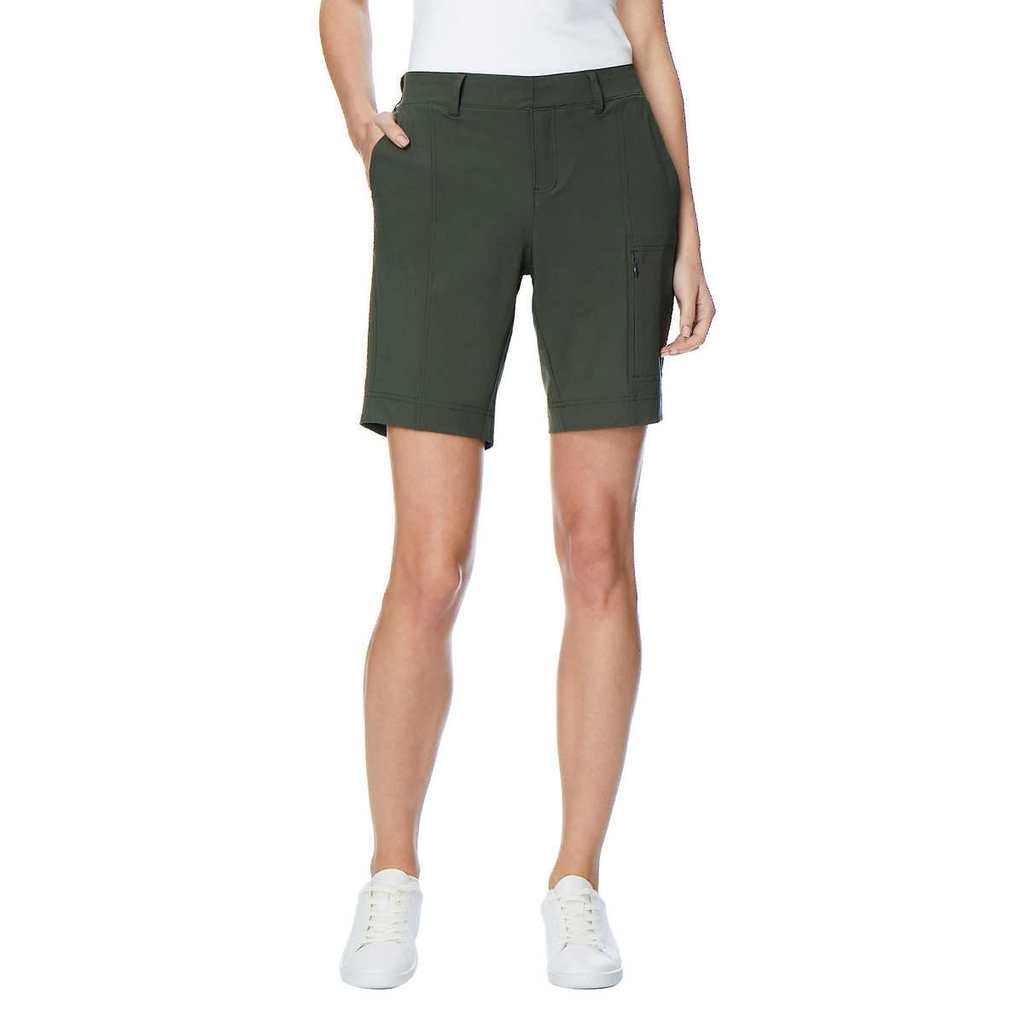 32 Degrees Ladies' Woven Short with Stretch, Olive, Large