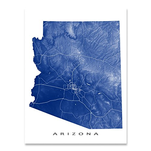 Arizona Map Art Print, AZ State Outline, USA Wall Art Poster