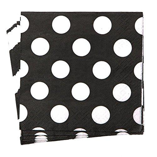 Black Polka Dot Beverage Napkins, 16ct ()