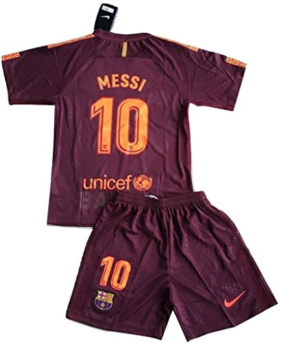 New #10 Messi 2018 FC Barcelona 3rd Champions League Jersey & Shorts for Kids and Youths (11-13 Years Old)